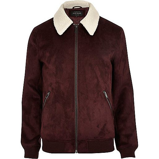 Dark red faux suede borg collar jacket - jackets - coats / jackets - men