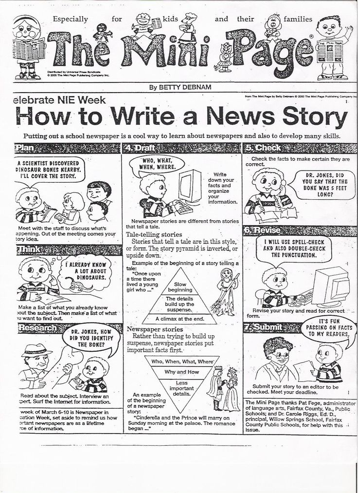 News article writing activity for middle school