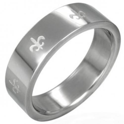 Bling Jewelry Stainless Steel Fleur De Lis Motif Mens Band Ring