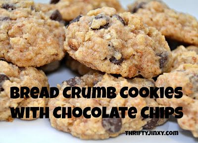 Bread Crumb Cookies Recipe with Chocolate Chips - Use Up Your Stale Bread or Crusts! - Thrifty Jinxy
