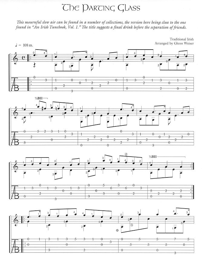 Free Celtic Fingerstyle Guitar Arrangements-The Parting Glass