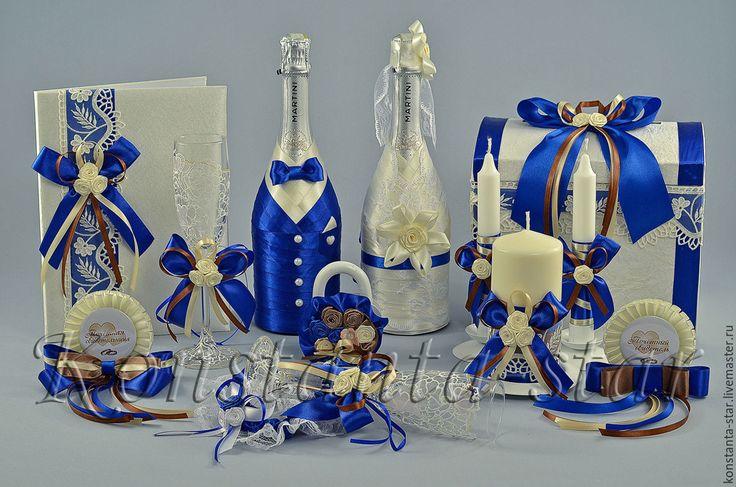 Купить Свадебные аксессуары в сине-шоколадном цвете - темно-синий, сине-шоколадная свадьба