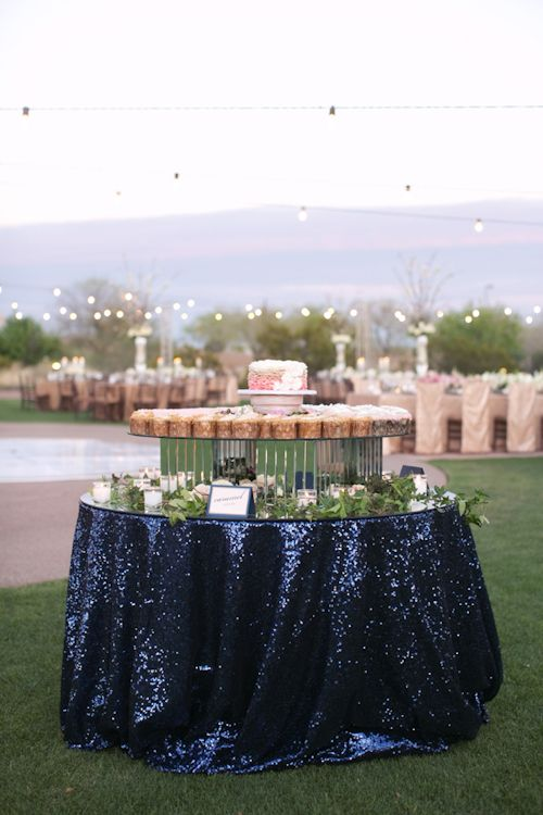 Sparkly navy tablecloth for dessert table. Wedding planned by Ashley Gain, photos by Melissa Jill Photography | junebugweddings.com