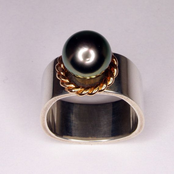 OOAK Hand made in Canada Tahitian Pearl Sterling Silver and Rose Gold Comfort Fit  Stirrup shape Ring Size 7 on Etsy, $1,390.88