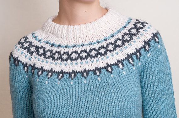 Hand Knit Sweater - Vintage Fair Isle Style Blue Jumper - XS