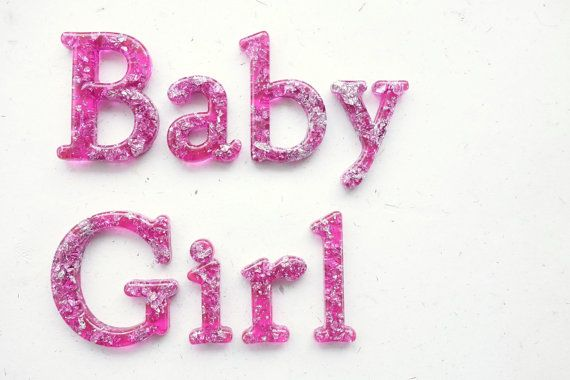 READY TO SHIP 'Baby Girl' wall phrase in Pink by WordosaurusText, $56.00