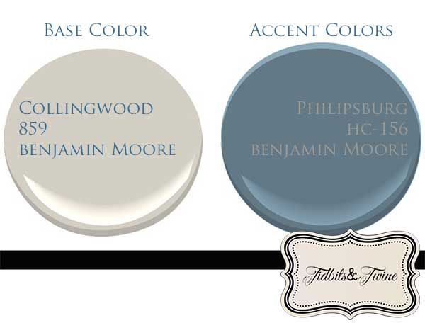 I am a neutral-lover at heart, so I prefer my big ticket items, like walls, floors, and furniture, to stay neutral.  Collingwood from Benjamin Moore has a classic look that can provide a pretty greige backdrop for a room.  Philipsburg Blue is a beautiful, complementary shade.