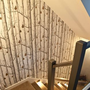 Cole and Sons Woods and Pears - modern - staircase - vancouver - Shazcor Modern Wallpaper