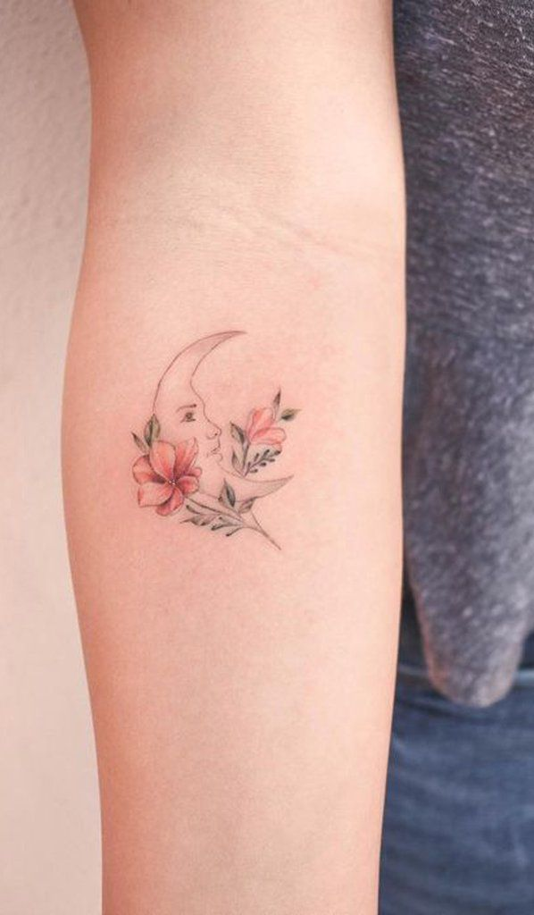 Delicate Watercolor Moon Forearm Tattoo Ideas For Women