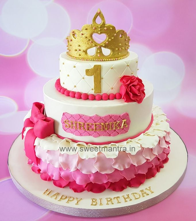 Princess Theme Customized 3 Tier Designer Fondant Cake For Girl S 1st Birthday At Pune Tiered Cakes Birthday Girl Cakes 3 Tier Birthday Cake