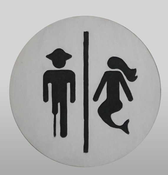 Pirate / Mermaid Bathroom Sign by OpelDesigns on Etsy
