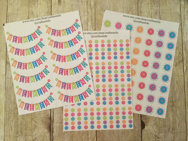 Sticker Package - Cute As A Button Theme for your Personal Planner - FREE SHIPPING by craftasmile on Etsy