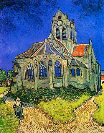 La chiesa di Auvers. Nel quadro la chiesa è la protagonista e imponente è situata da Van Gogh al centro dell'opera.