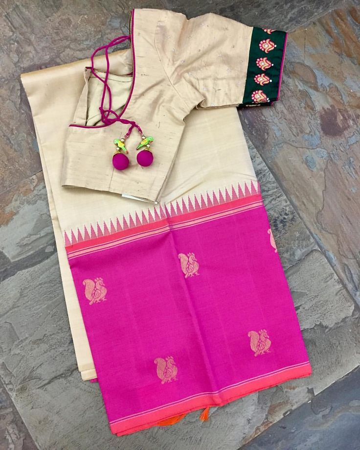 One side big border (beige body with pink border and zari butas) silk kanjeevaram saree matched with raw silk blouse. Sold separately. Email   at service.taamara@gmail.com for online orders/enquiries. What s app no:9108558485 . 17 May 2017
