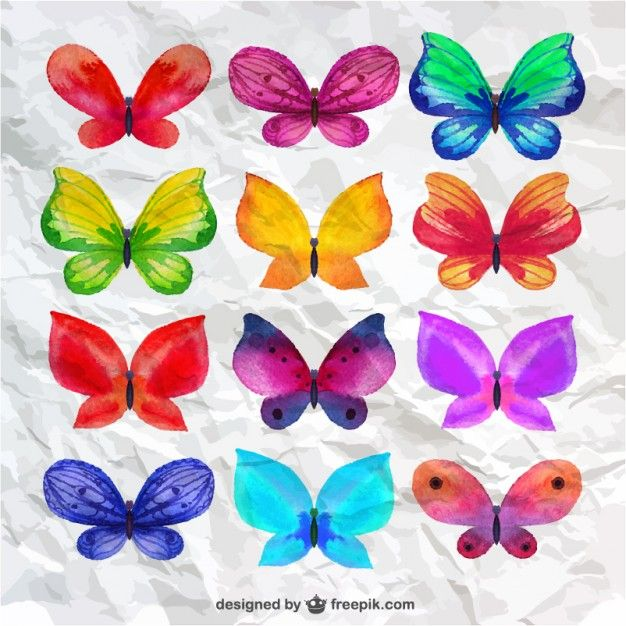 Free vector Watercolor butterflies collection #13736
