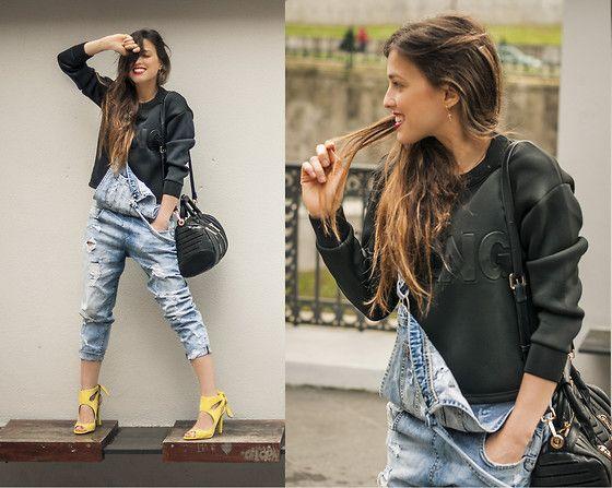 INGRID BETANCOR - Zara Denim Jumpsuit, Sheinside Crop Jersey Wang, Zara Heeled Suede Sandals, Zara Quilted Bowling Bag - DENIM JUMPSUIT