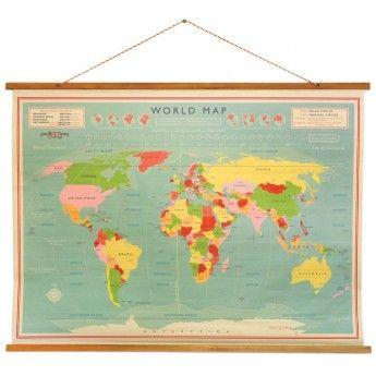 Vintage World Map Wall Chart