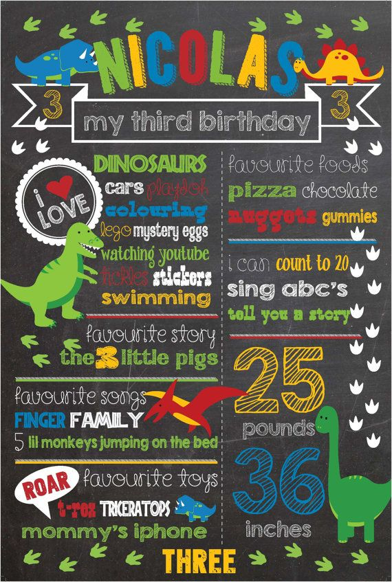 Dinosaur Birthday Chalkboard Sign by shortyitsurbirthday on Etsy