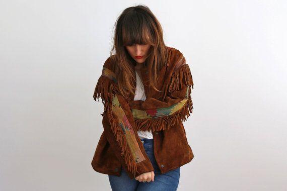 Boho franges daim brodé veste, Western Cowboy Kilim frange veste de couleur marron, dos frange / Festival de l'air, Folk, Indie, Gipsy