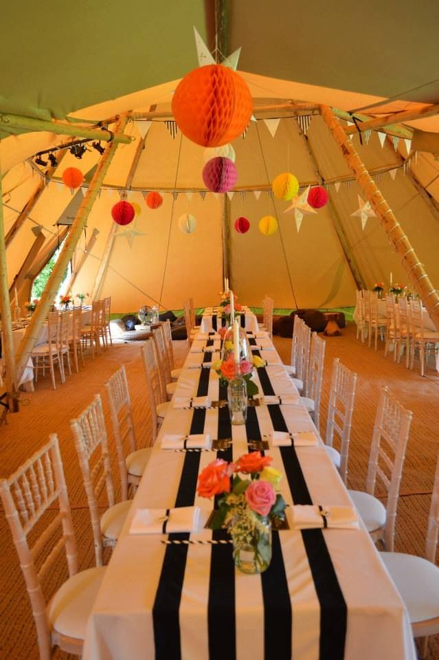 49 best tipi yurt wedding decoration styling images on pinterest gorgeous black and white runners on our rustic oak rectangular tables with lime wash chairs junglespirit Choice Image