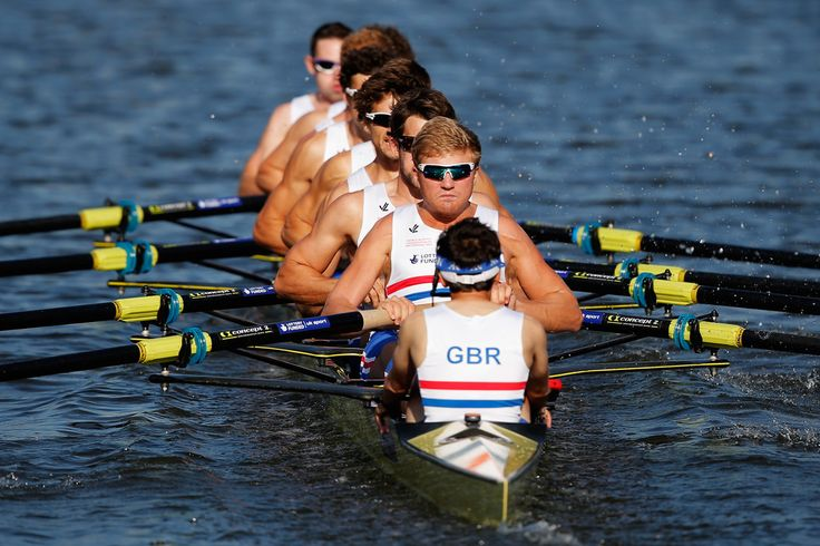 Constantine Louloudis, Phelan Hill, Nathaniel Reilly-O'Donnell, Tom Ransley, Paul Bennett, Pete Reed, Matthew Gotrel, William Satch and Matthew Tarrant of Great Britain compete in the Men's Eight - Repechage during the 2014 World Rowing Championships at the Bosbaan on August 27, 2014 in Amsterdam, Netherlands.