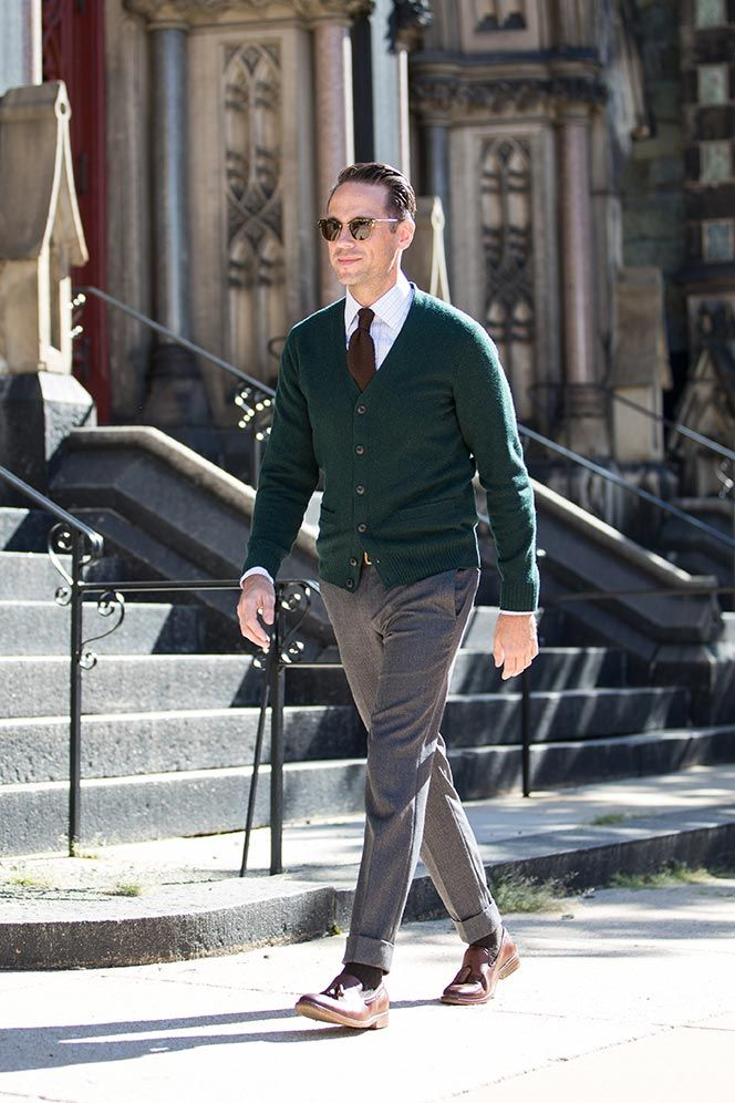 Green cardigan + white checkered shirt + knit tie + tailored pants + brown loafers