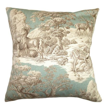 Cotton pillow with a toile-inspired motif and feather-down fill.Product: PillowConstruction Material: Cotton cover and...