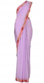 Lilac saree with multicolored thread work border. I like this color.
