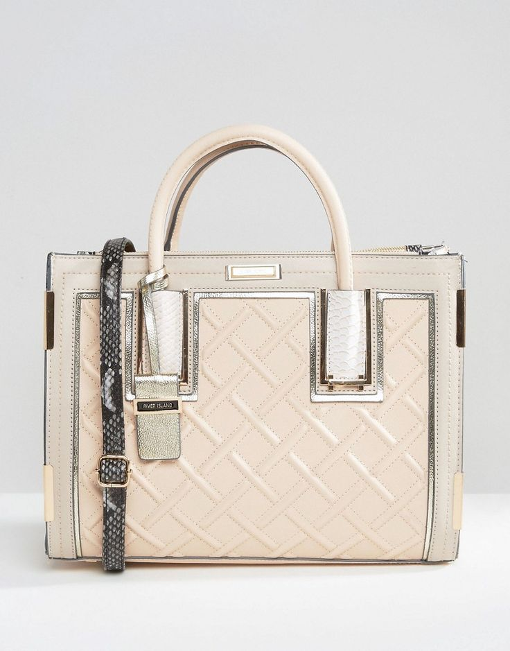 Image 1 of River Island Patent Crossbody Tote Bag