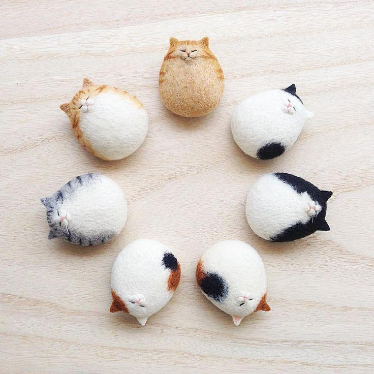 たまごねこ軍団 - - - - - - - #cat #neko #needlefelt #needlefelting #felt #felted #felting #woolfelt #woolfeltcat #羊毛フェルト #ニードルフェルト 20170620