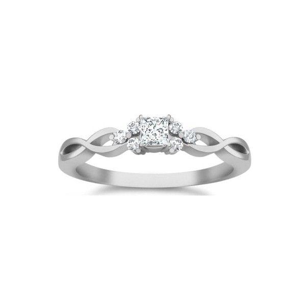 0.5 Carat Princess cut Diamond Cheap Affordable Diamond Engagement Ring 10K White Gold