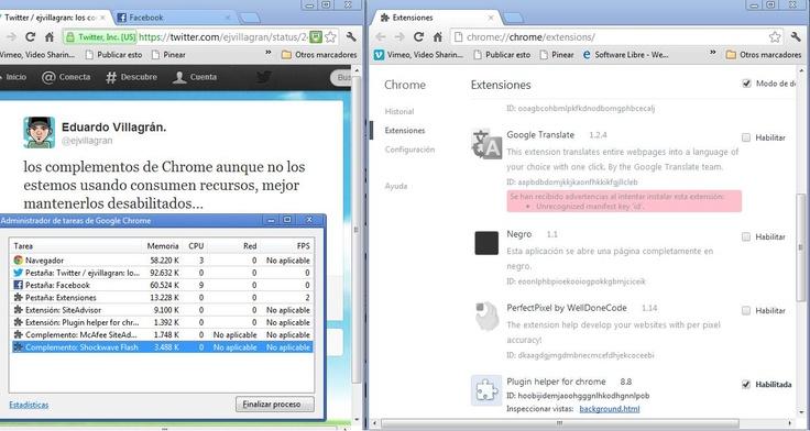 Cada complemento instalado en Chrome, inicia a consumir memoria del pc desde el momento que iniciamos el navegador, por lo que es recomendable habilitarlos únicamente para su uso y los que no se usen con frecuencia deshabilitarlos. Chrome tiene su propio administrador de tareas, donde pueden ver el consumo de recursos(herramientas/Administrador de Tareas) luego podemos administrar los complementos en (herramientas/Extensiones)