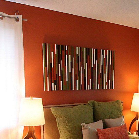 Mid Century Modern Colors Wood Wall Art Burnt Orange Wall Art Mid Century Modern Colors Orange Wall Art Wood Wall Art