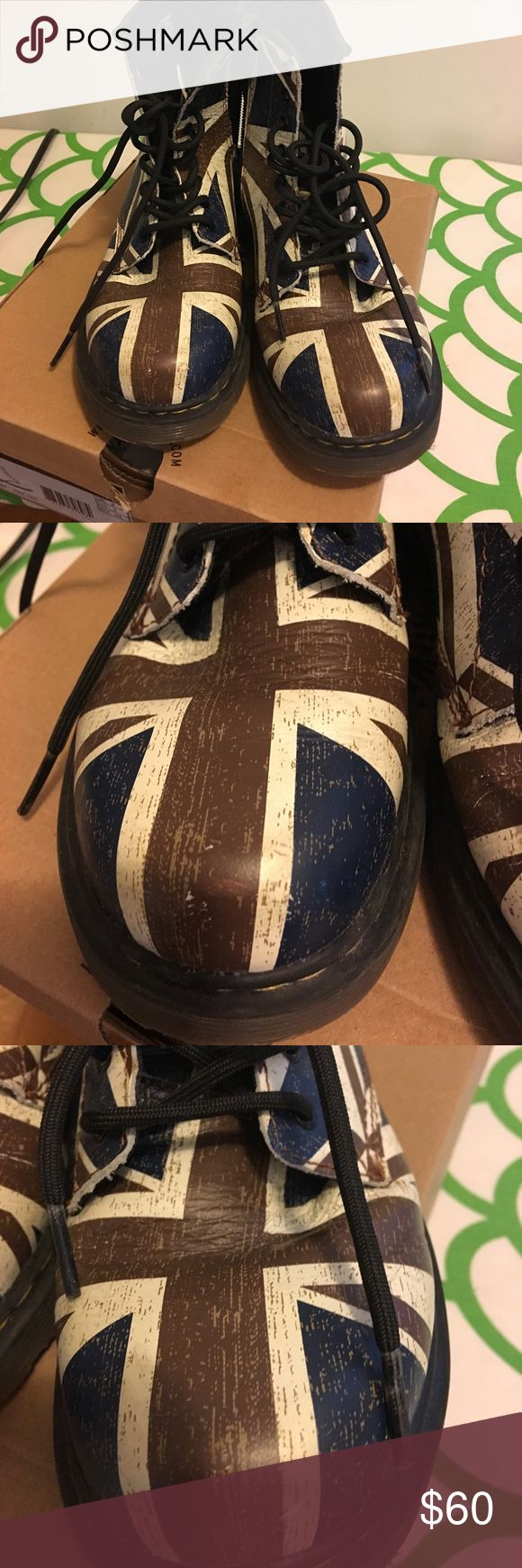 Dr Martin Union Jack lace up boots size 4 The ultimate boots for the offspring of the glorious 80's! Barely worn with minor scuffing shown in photos. Distressed design. Side zip for easy access. Sorry, no box. dr martins Shoes Boots