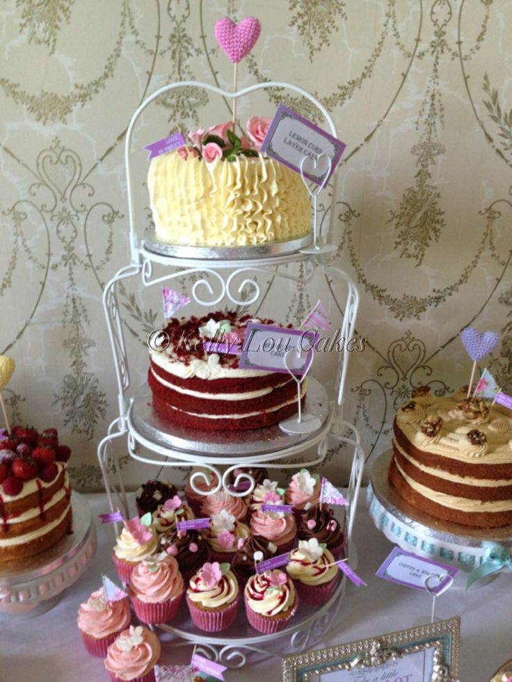 Kelly Lou Cakes Wedding Dessert table. Raspberry & White Chocolate cake, Red Velvet cake, Coffee cake, assorted cupcakes