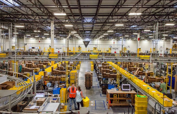 Amazon's fulfillment Center (New Jersey) where humans and robots work together in a highly efficient system.