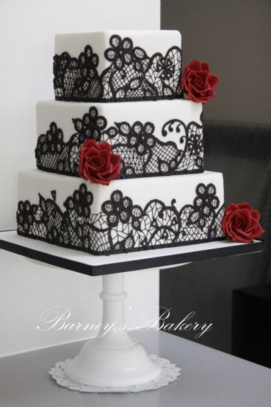 Wedding cake, black and red wedding cake