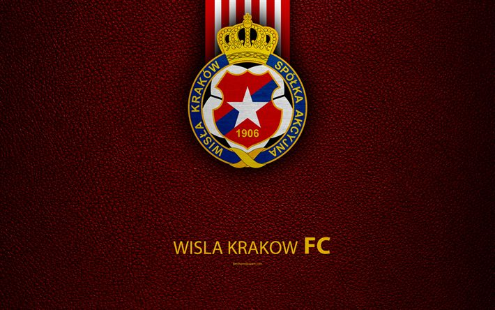 Download wallpapers Wisla Krakow FC, 4k, football, emblem, logo, Polish football club, leather texture, Ekstraklasa, Krakow, Poland, Polish Football Championships