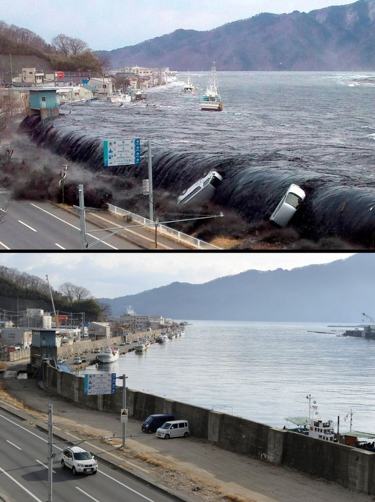 Japan Tsunami One Year Later  This combo shows an image (top) taken by a Miyako City official on March 11, 2011 of the tsunami breeching an embankment and flowing into the city of Miyako in Iwate prefecture and the same area (bottom image) on Jan. 16, 2012 nearly one year after the March 11 tsunami devastated the area. Credit: Jiji Press / Toru Yamanaka, AFP / Getty