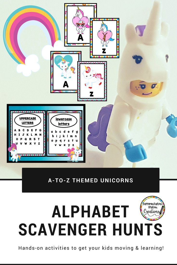 Alphabet Scavenger Hunt Unicorns A To Z Upper And Lowercase Letters Lower Case Letters Hands On Activities