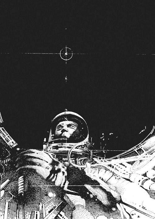 thehauntedrocket:  John Glenn by Moebius