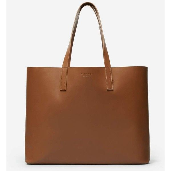 Everlane Women's Leather Market Tote Bag ($165) ❤ liked on Polyvore featuring bags, handbags, tote bags, brown leather handbags, cognac tote, tote purses, brown leather purse and leather totes