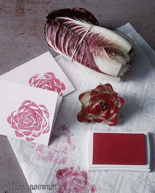 Making an creative stamps, using the end of a head of Treviso radicchio yields a roselike print.