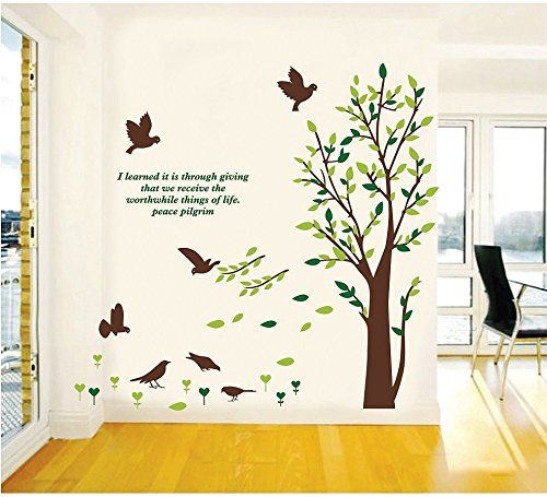 Wall Sticker Removable Home Decor Wall Art Mural Decal Tree Birds Quote -- Visit the image link more details.