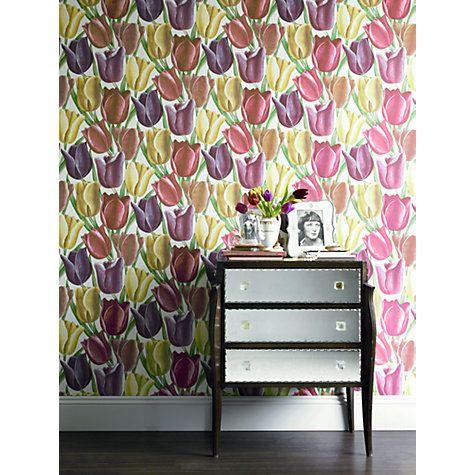 Buy Sanderson Early Tulips Wallpaper, DVIWEA103, Aubergine / Red Online at johnlewis.com