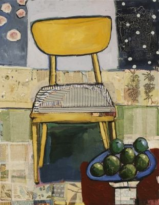 Gary Nisbet creates painted collages featuring forms drawn from the domestic realm of home. Aspects of the garden, library and kitchen table are invited to dialogue through his conscience collage process. He explores the themes of growth and nurture, cycles of life and family. Connection, rhythm, ceremony, purpose; these arrangements painted over the history of the stressed surface, is an appropriate juxtaposition to represent everyday life.
