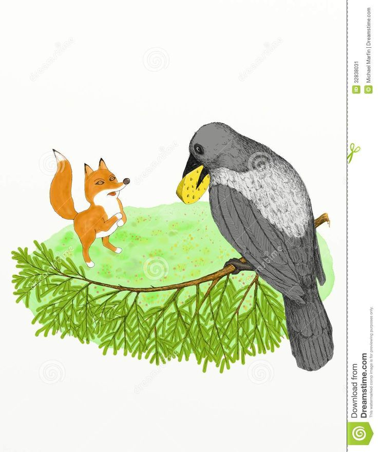 Crow and the Fox stock illustration. Image of yellow - 32838031