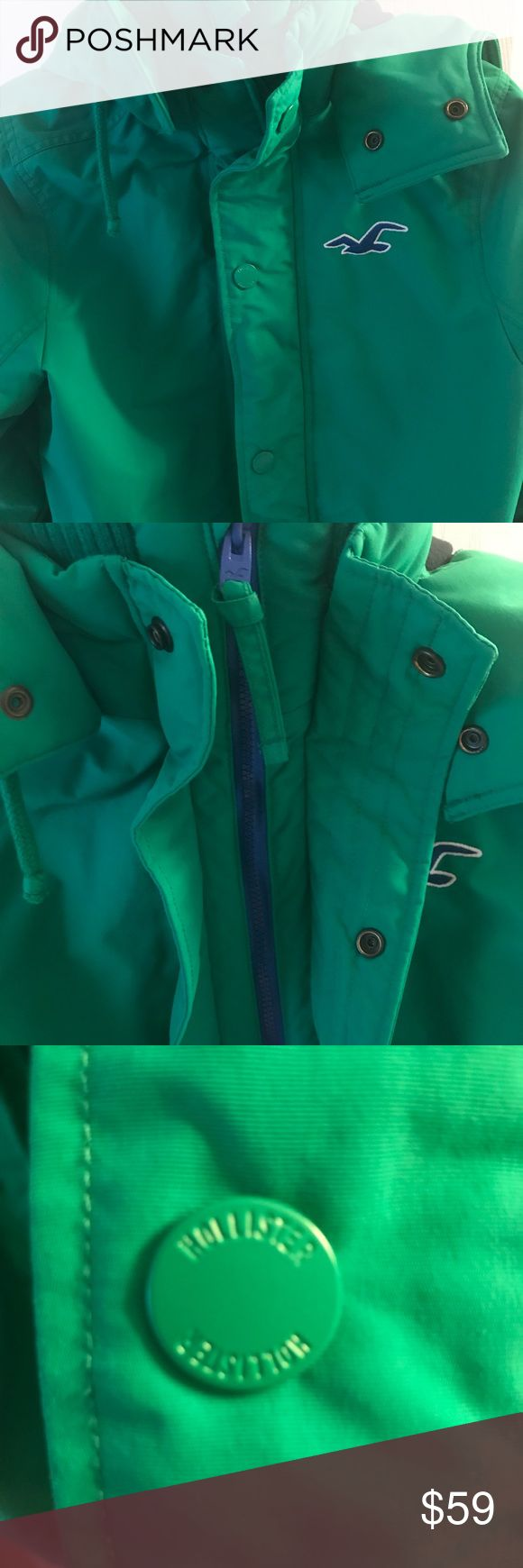 Hollister California winter coat with hood. Warm. Hollister insulated men's hooded jacket. Gorgeous green color. Excellent condition. Hardly worn. Smoke free home. Hollister Jackets & Coats Ski & Snowboard