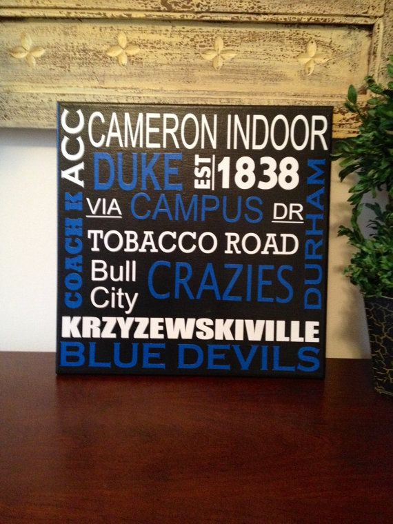 12x12 Duke Blue Devils Subway Art Canvas