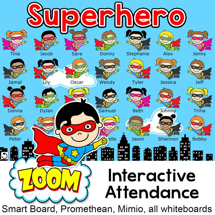 Superhero Theme Interactive Attendance Sheet for Interactive Whiteboards: Have fun taking attendance with this superhero kids theme interactive attendance sheet! Students touch their character when they arrive in class and their character will fly off screen. The remaining heroes left on screen make it easy for you to see who is away that day. For the Smart Board, Promethean, Mimio and all whiteboards.